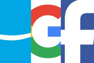 Un montage representant les logos d'Amazon, Google et Facebook