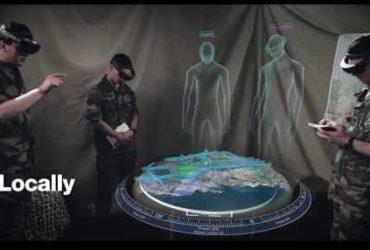 Les militaires et leurs hologrammes lors du test du casque Hololens 2 par Airbus