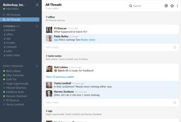 Une capture d'écran du fil de discussions dans Slack